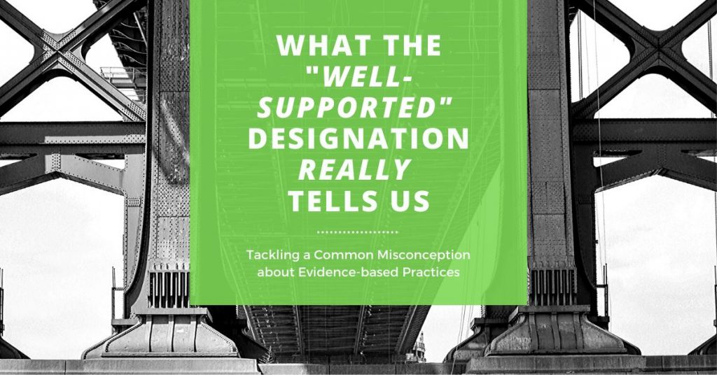 "Black and white image of bridge supports with text: ""What the 'Well-supported' designation really tells us. Tackling a common misconception about evidence-based practices."